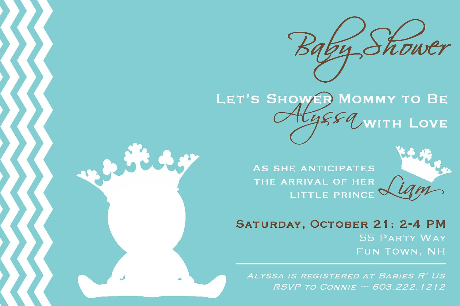 royal prince baby shower invitations