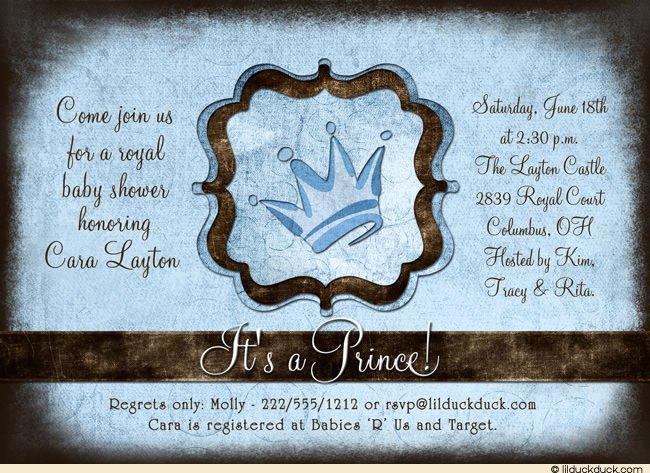 Royal Prince Baby Shower Invitation Wording