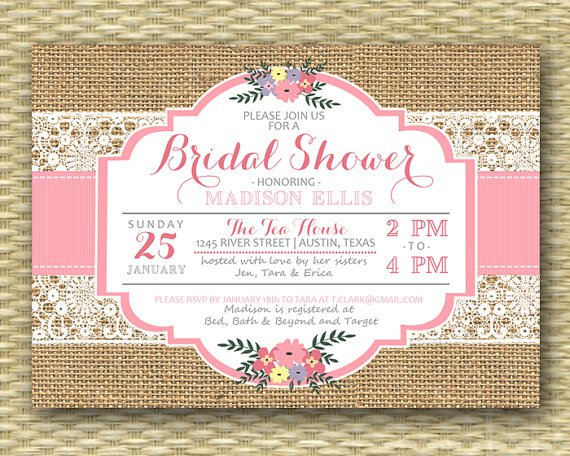 Rustic Bridal Shower Luncheon Invitations
