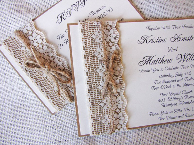 Rustic Homemade Wedding Invitations