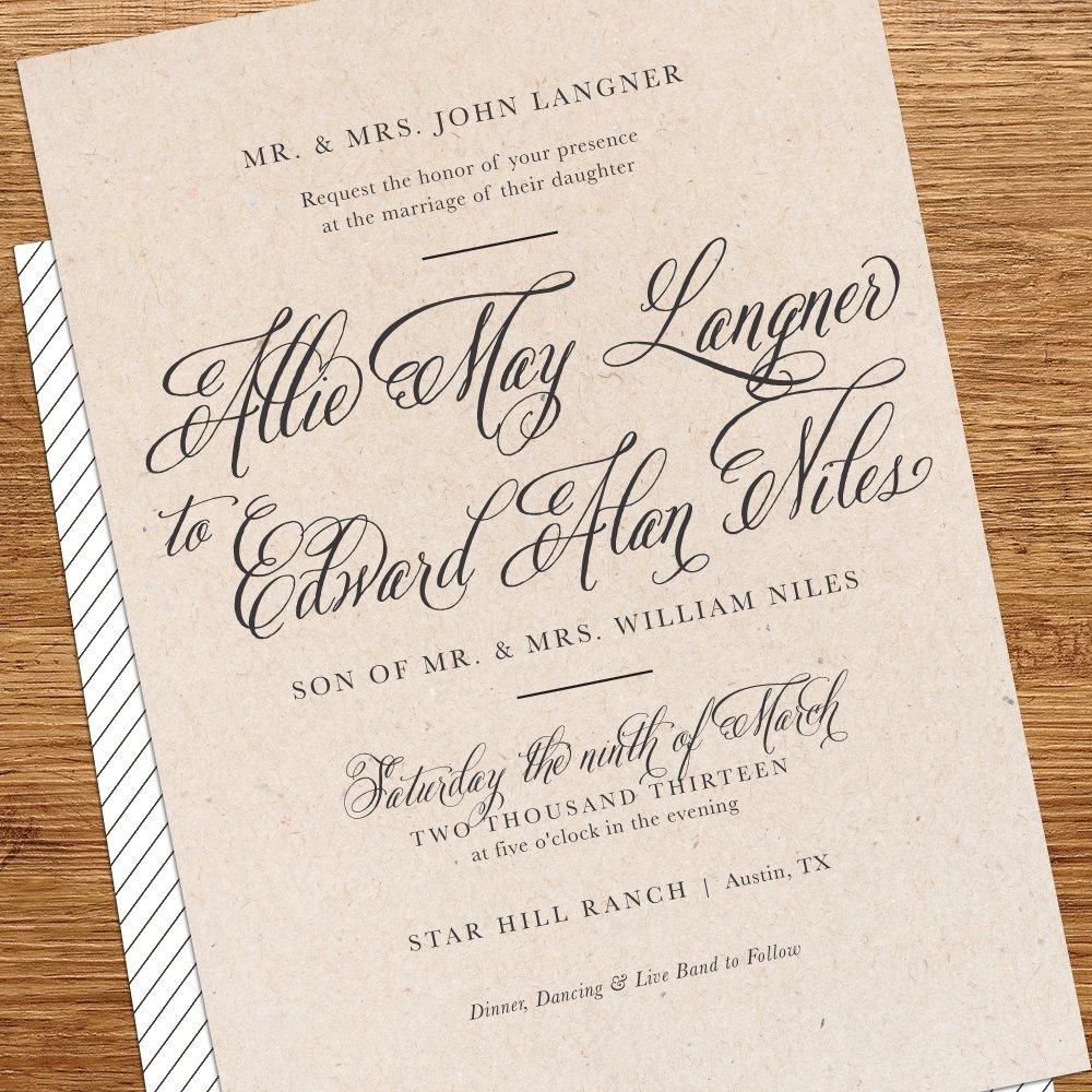 Rustic Simple Wedding Invitations