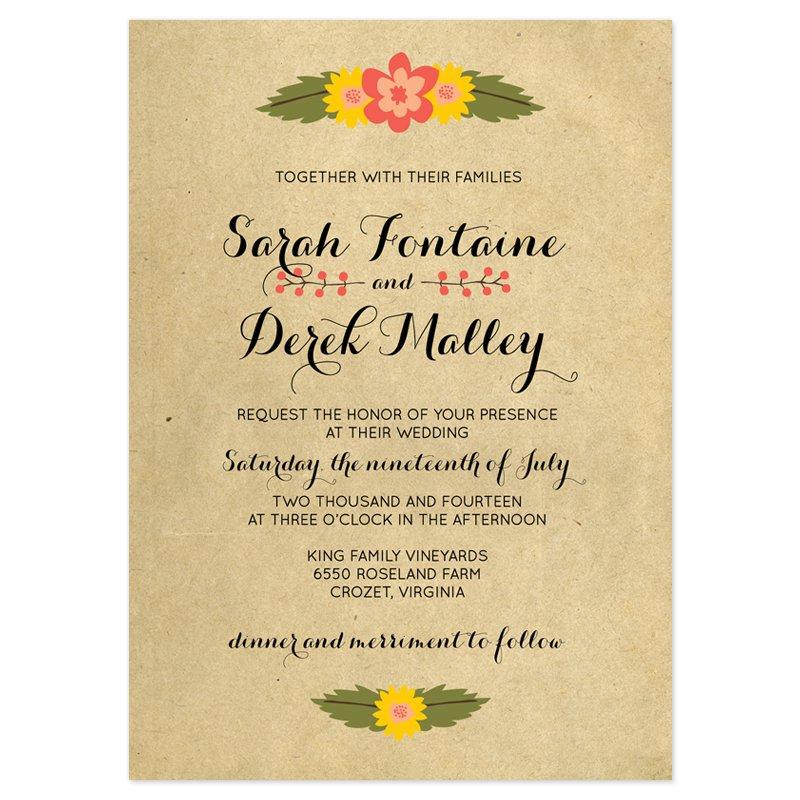 Rustic Wedding Invitation Wording Samples