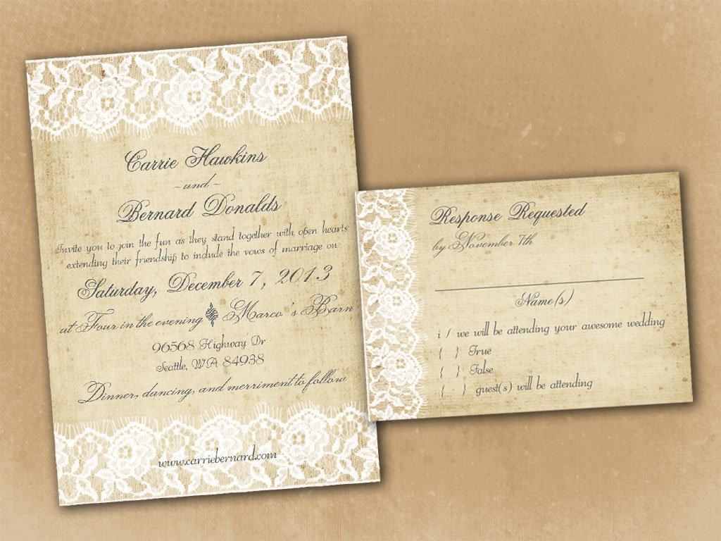 Rustic Wedding Invitations Template