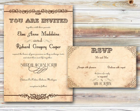 Rustic Wedding Invitations Templates
