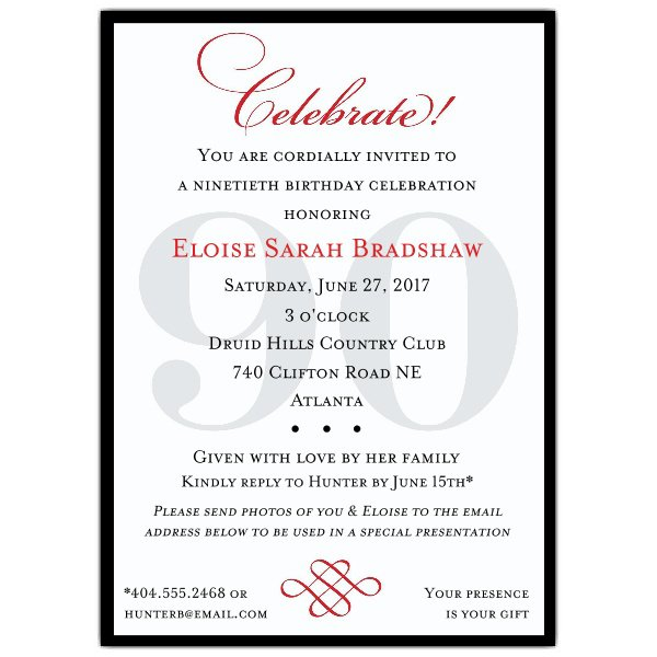 Sample 90th Birthday Invitations Wording