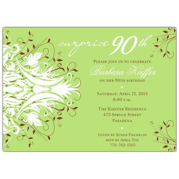 Sample 90th Birthday Party Invitations