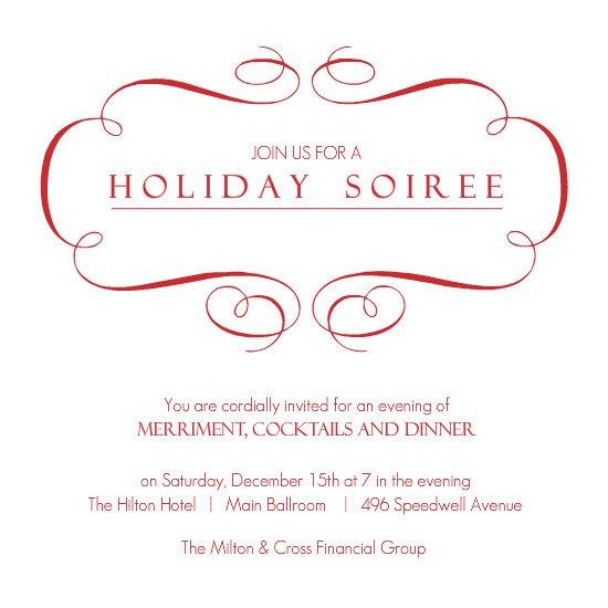 Sample Company Holiday Party Invitations