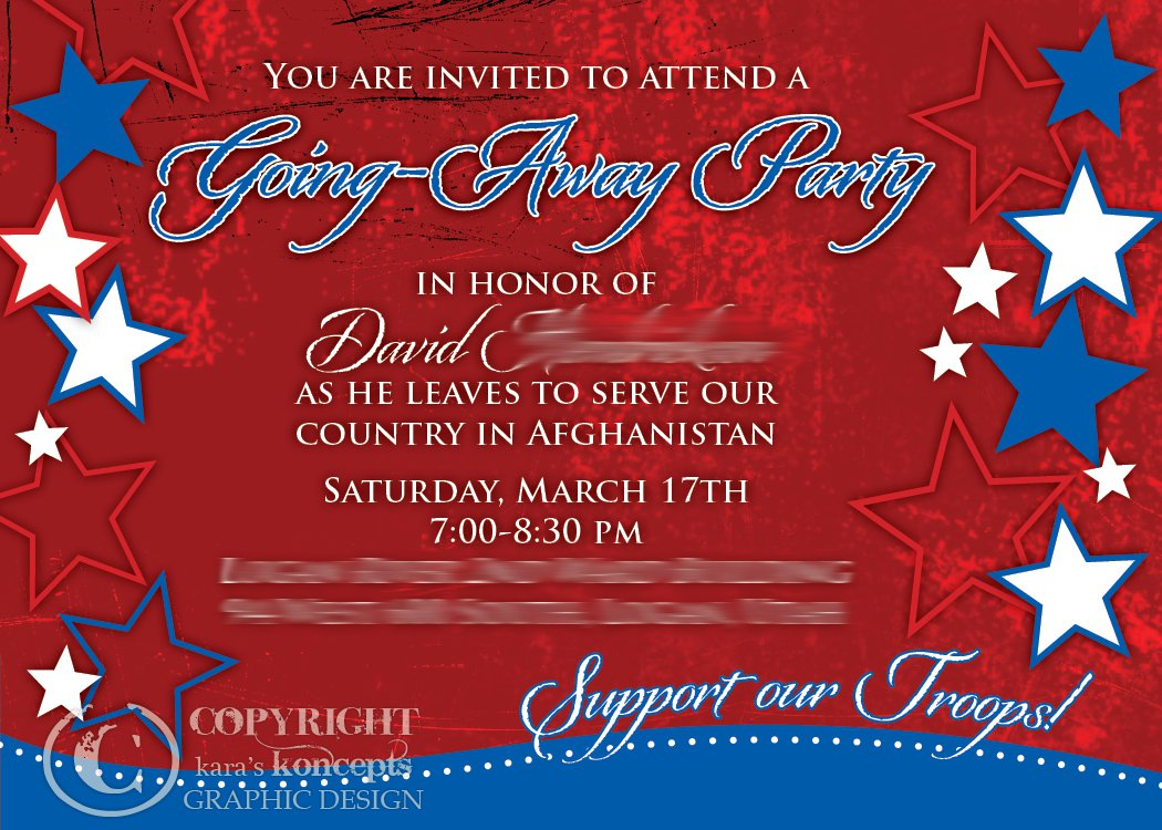 Sample Going Away Party Invitation Wording