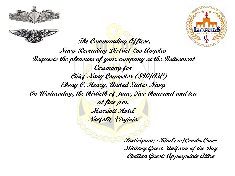 Sample Military Retirement Invitations