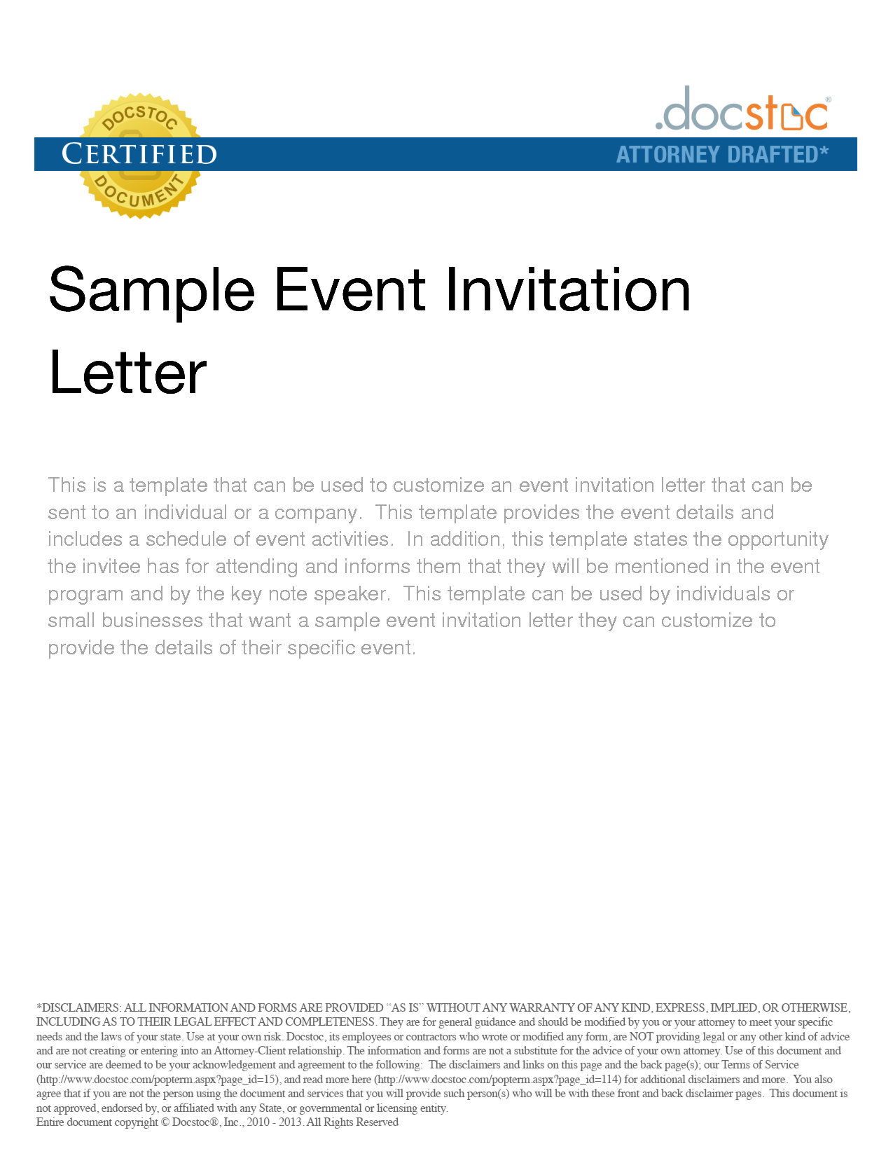 Sample Of Corporate Invitation To Event