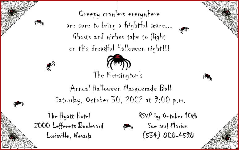 Collection Halloween Wording For Invitations Pictures – Halloween Party Invites Wording