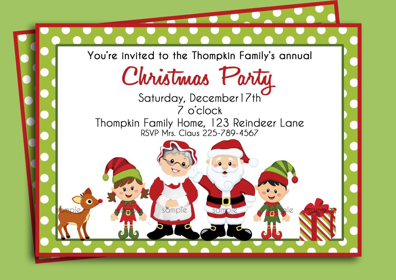 School Christmas Party Invitation Wording