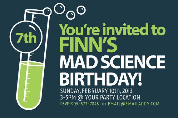 Science Birthday Party Invitations