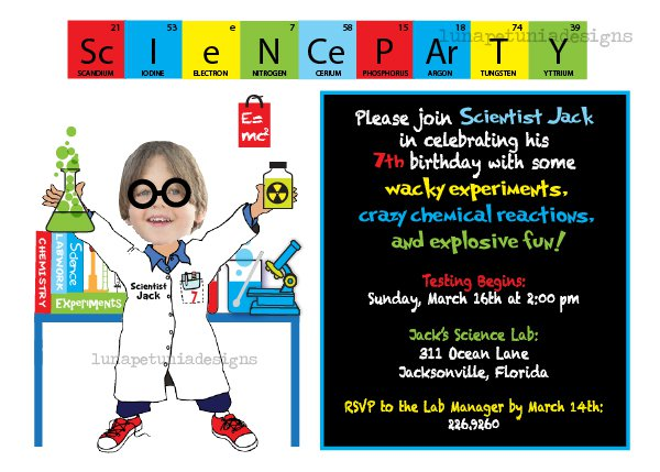 Science Birthday Party Invitations Wording