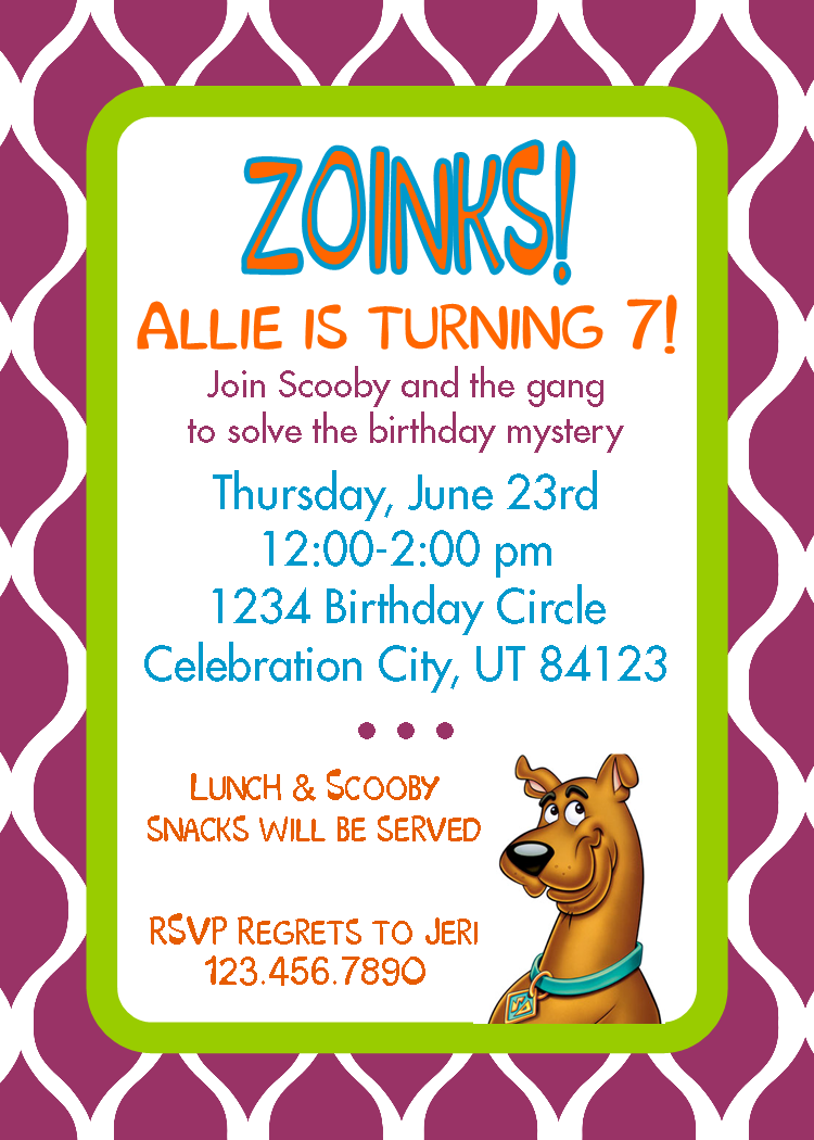 Scooby Doo Birthday Invitations Free Printables