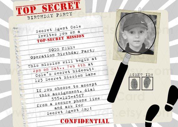 Secret Mission Invitation Wording