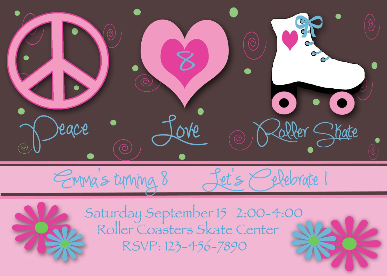 Skate Birthday Invitations Templates