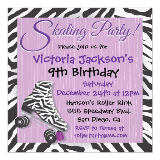 Skating Birthday Invitations Templates