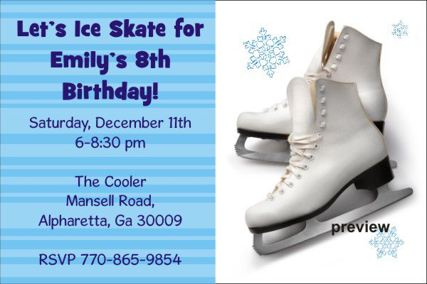 Skating Birthday Party Invitation Wording