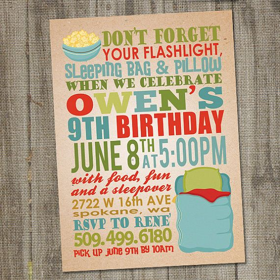 Sleep Over Birthday Party Invitation