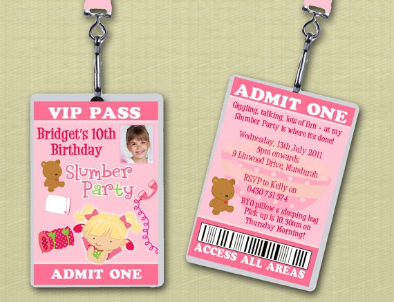 Sleepover Birthday Party Invitation Templates