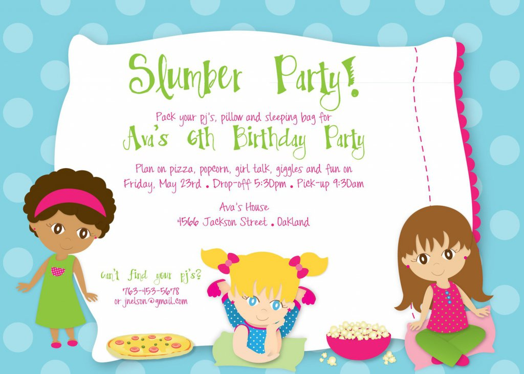 Sleepover Birthday Party Invitation Wording