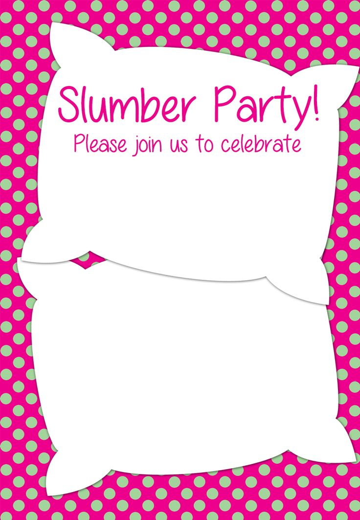 Slumber Party Birthday Invitation Templates