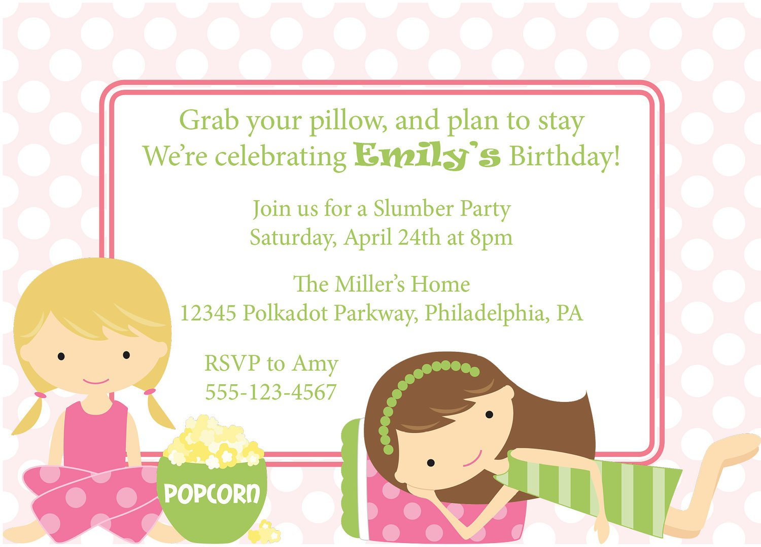 Slumber Party Birthday Invitation Wording