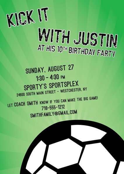 Soccer Themed Birthday Party Invitation Wording