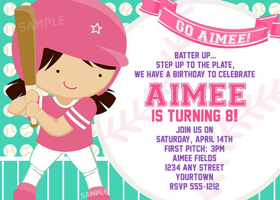 Softball Birthday Party Invitations