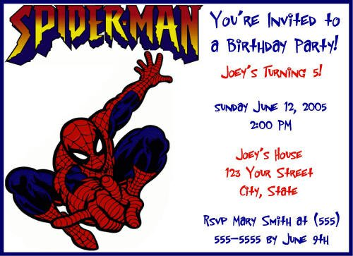 Spider-man Invitations Free Printable