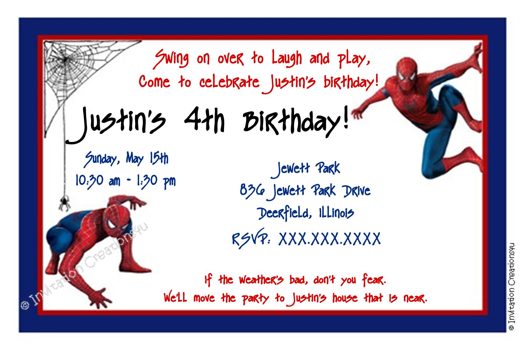 Spider-man Party Invitations