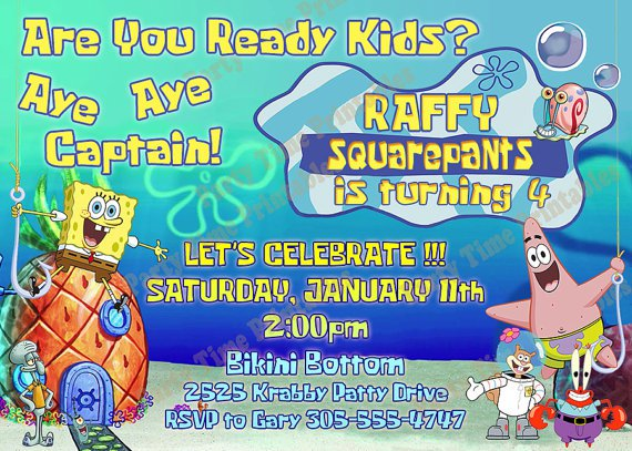Spongebob First Birthday Invitations