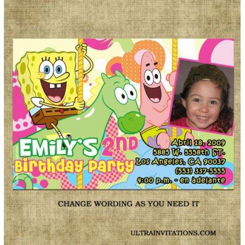 Spongebob Girl Birthday Invitations