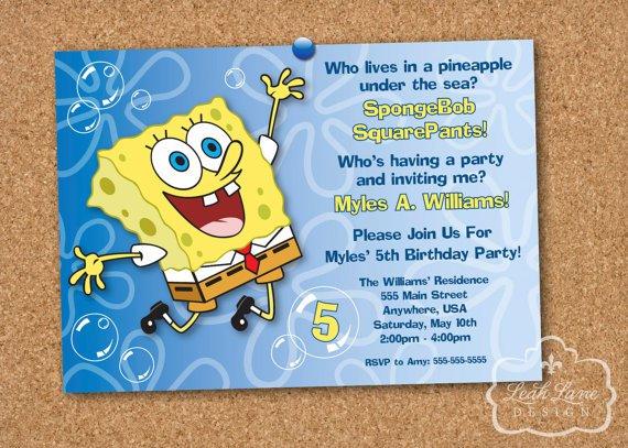 Spongebob Squarepants Party Invitations Printable