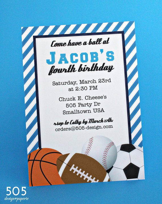 Sport Party Invitations For Boys