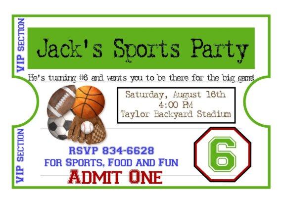 Sports Birthday Party Invitations Printable