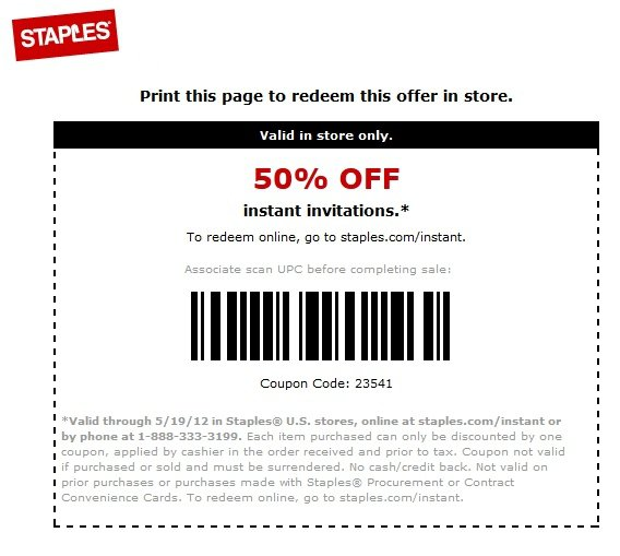 Staples Invitations Coupon