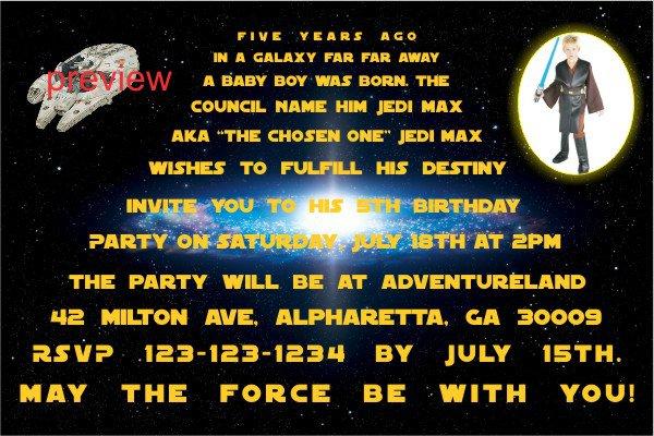 Star Wars Birthday Invitation Text