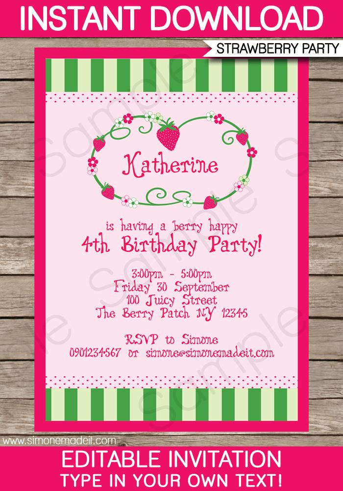 Strawberry Shortcake Invitation Template Free Download
