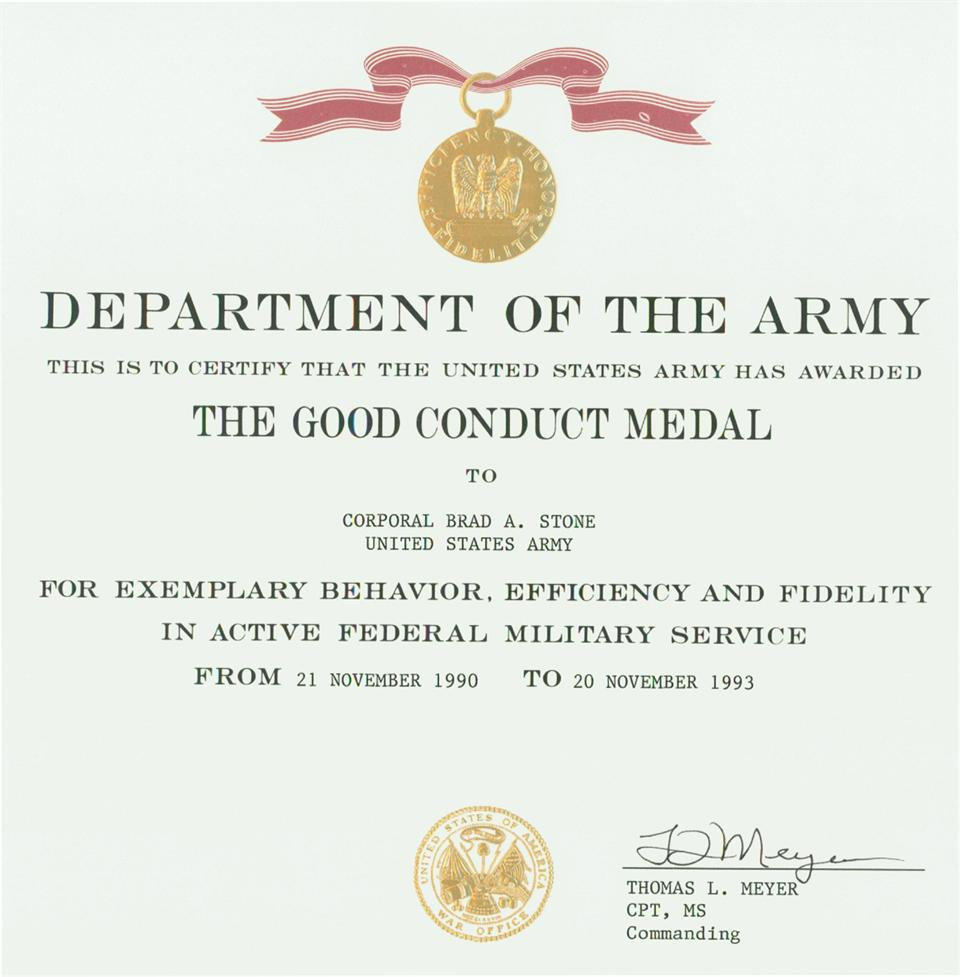 Sunday school promotion invitation for Army good conduct medal certificate template