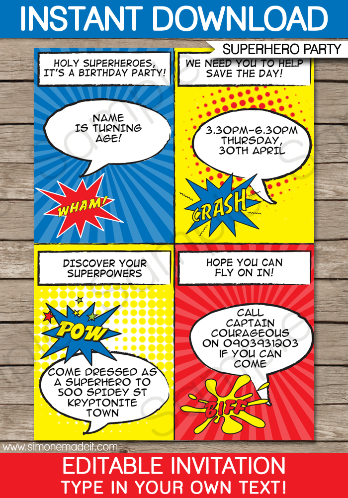 Superhero Printable Party Invitations