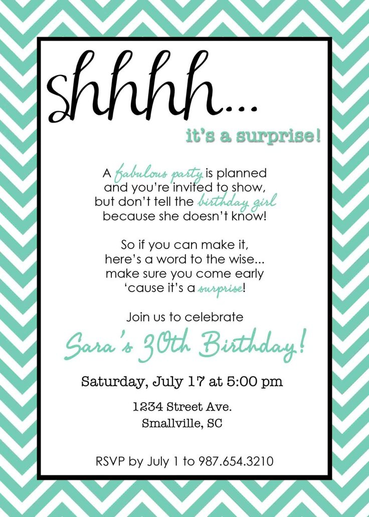 Surprise Th Birthday Invitation Samples - Birthday invitations wording for 30th