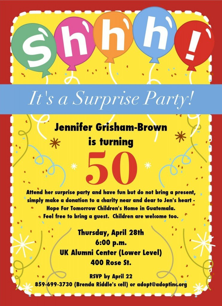 surprise 50th birthday party invitations, Party invitations