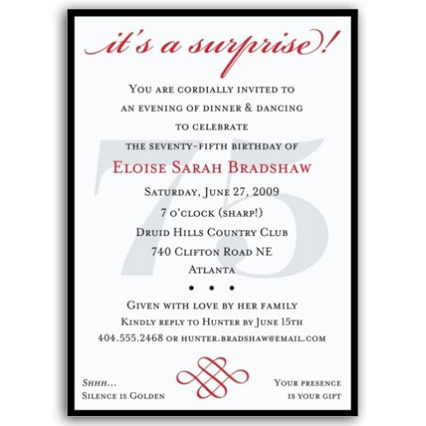 Surprise 75th Birthday Invitations Wording