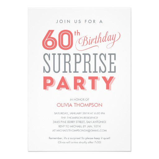 Surprise Birthday Invitations Blank