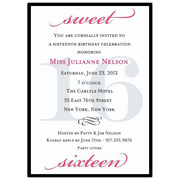 Sweet Sixteen Birthday Invitation Wording