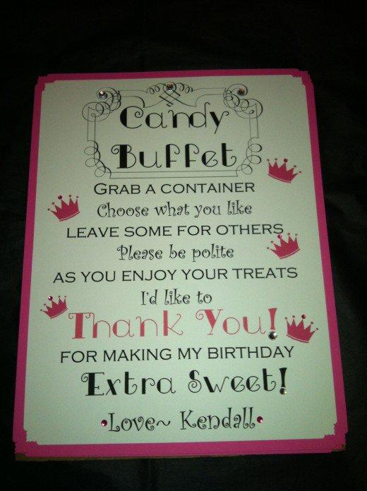 Sweet Sixteen Candy Buffet Sayings