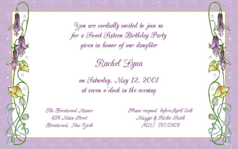 Sweet Sixteen Invitations Wording