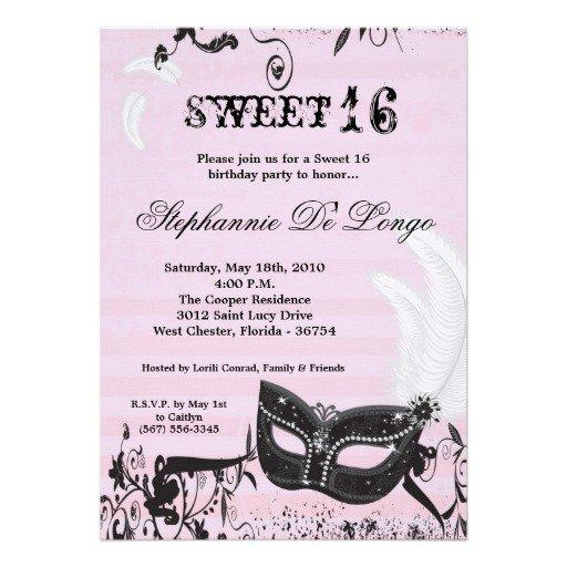 Sweet Sixteen Masquerade Invitation Wording